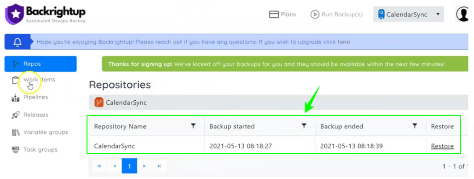 Table showing backup details enclosed in a green rectangle with an arrow pointing to it